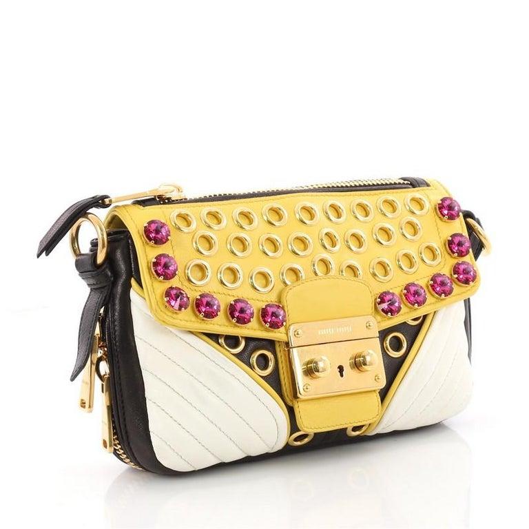 cbe8c678496 Beige Miu Miu Biker Crystal Shoulder Bag Grommet Embellished Leather Small  For Sale