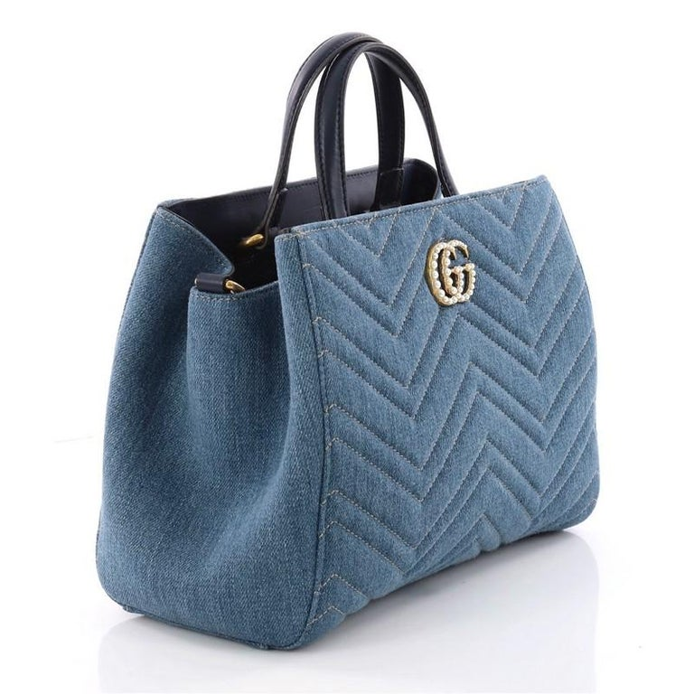 19ac4cd3ccf7 Purple Gucci Pearly GG Marmont Tote Matelasse Denim Small For Sale