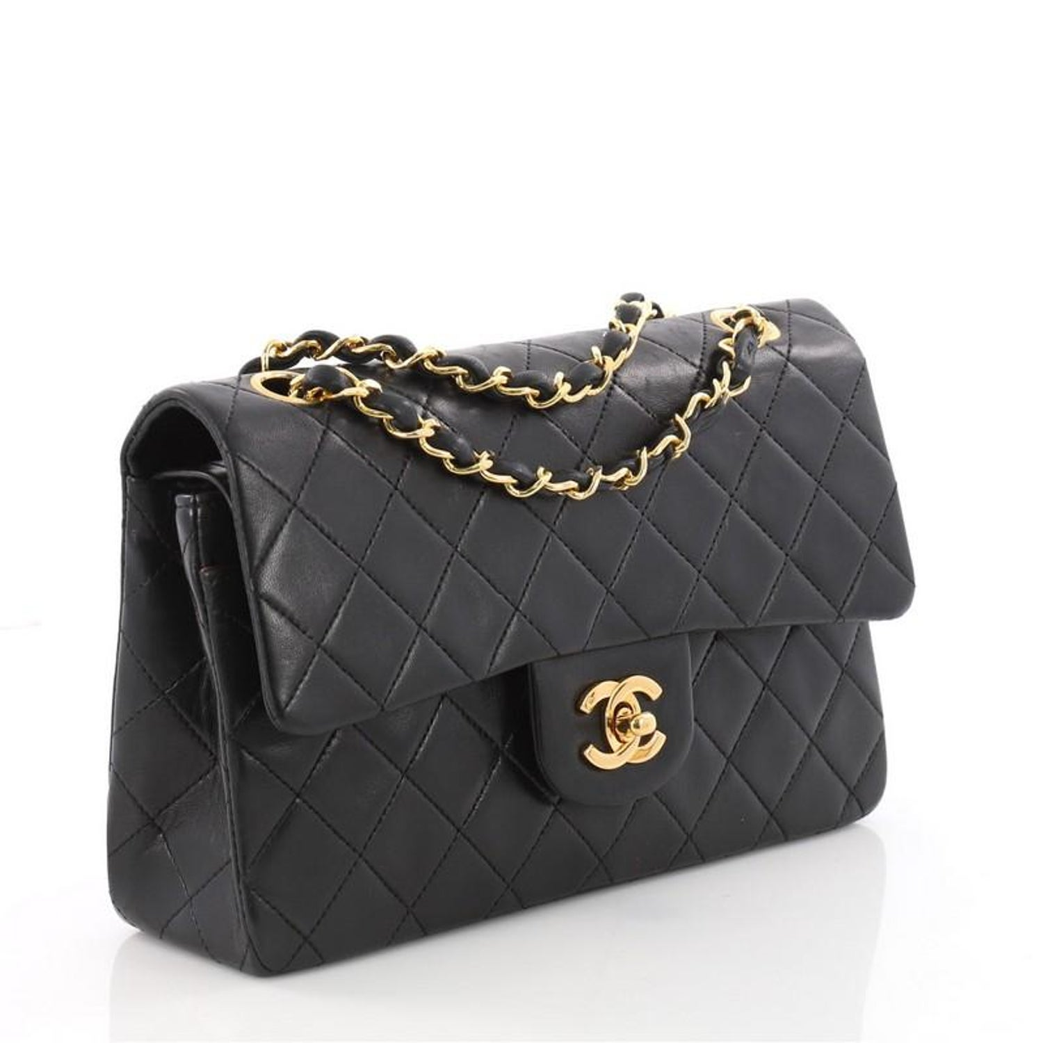 714bd42d6109 Chanel Vintage Classic Double Flap Bag Quilted Lambskin Small at 1stdibs