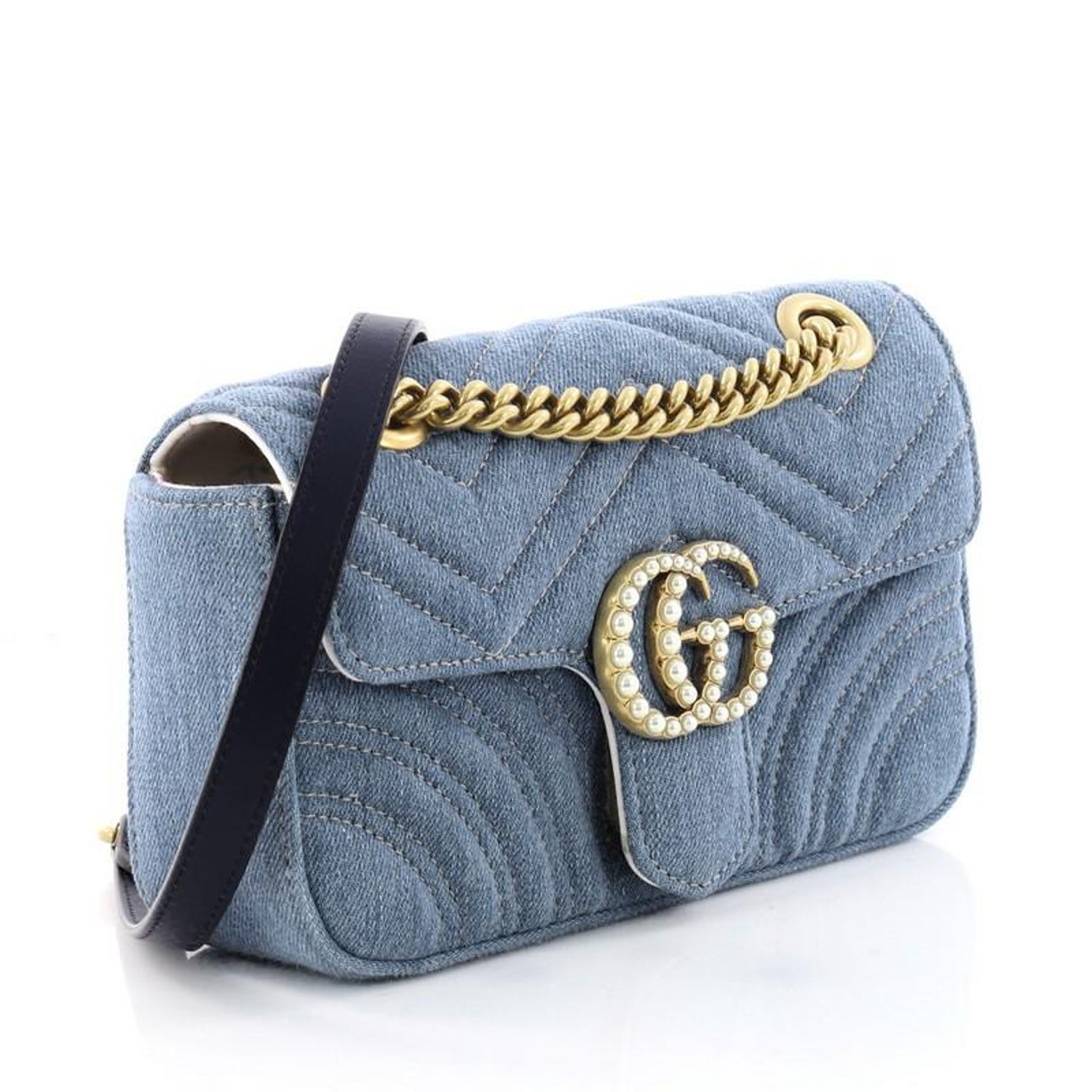 a1318428af4f68 Gucci Pearly GG Marmont Flap Bag Matelasse Denim Small at 1stdibs