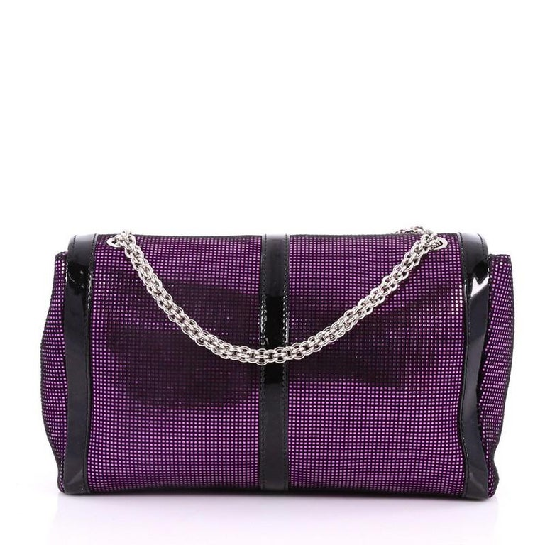 Christian Louboutin Sweet Charity Crossbody Bag Glitter Leather Small  In Good Condition For Sale In New York, NY