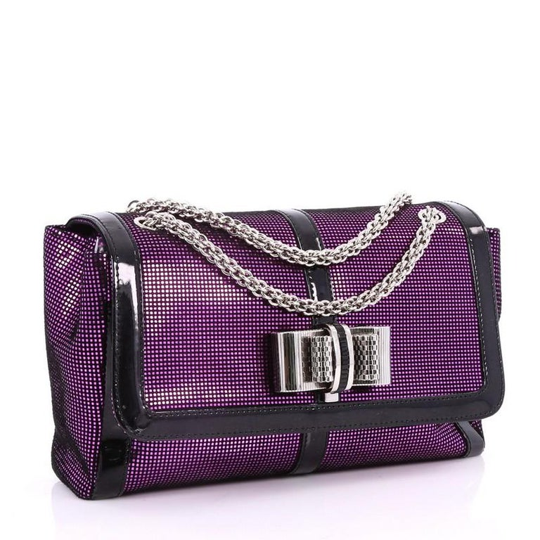 Black Christian Louboutin Sweet Charity Crossbody Bag Glitter Leather Small  For Sale