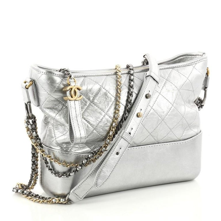 45b7267d847a ... displays a luxurious design with. Gray Chanel Gabrielle Hobo Quilted  Aged Calfskin Medium For Sale