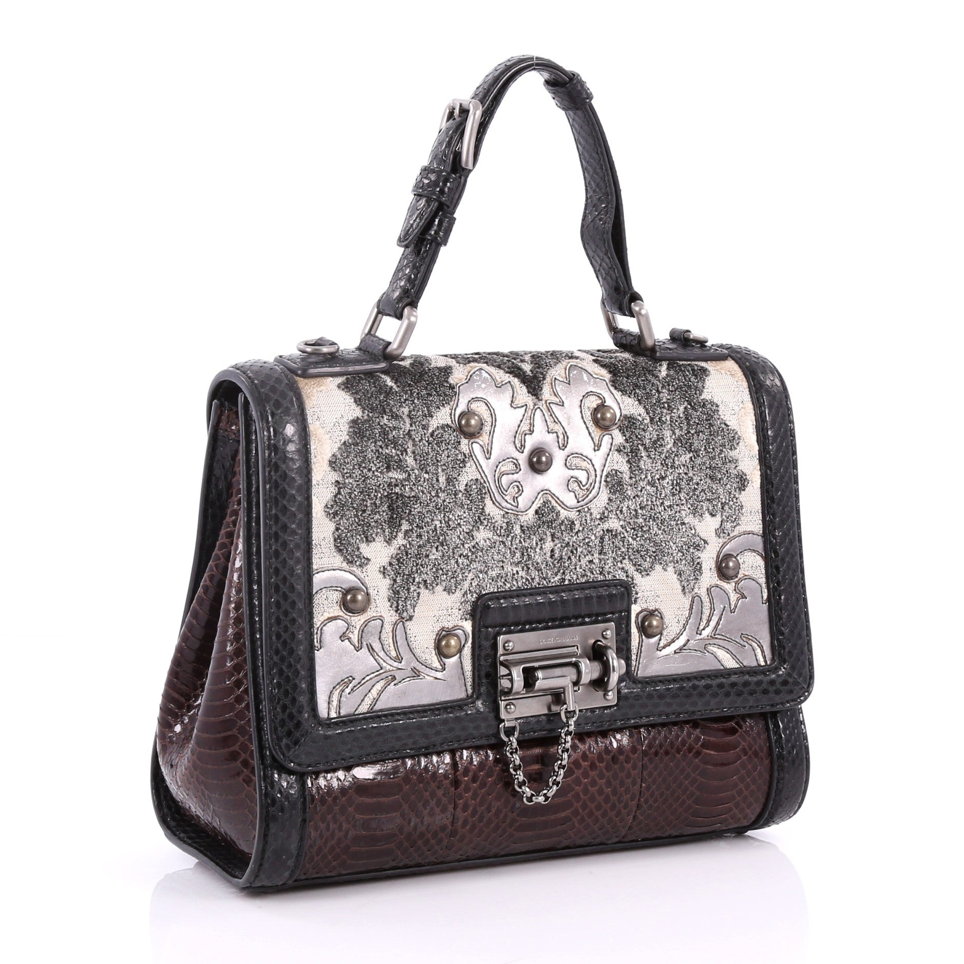 d9b237ff867 Dolce and Gabbana Monica Handbag Brocade and Python Medium at 1stdibs