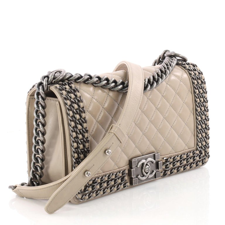 746d872a7cd526 Brown Chanel Chained Boy Flap Bag Quilted Glazed Calfskin Old Medium For  Sale