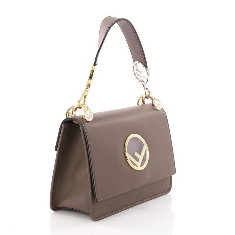 Brown Fendi Kan I F Shoulder Bag Leather Medium For Sale