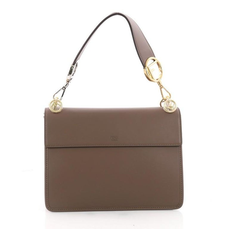 Fendi Kan I F Shoulder Bag Leather Medium In Excellent Condition For Sale In New York, NY