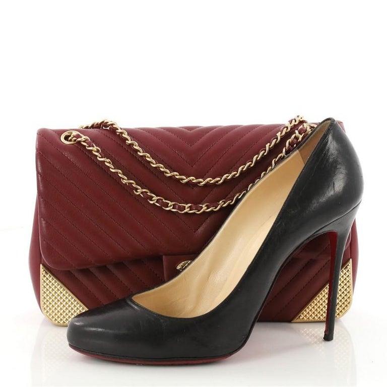 f0003da9e28e This authentic Chanel Rock the Corner Flap Bag Chevron Leather Medium is a  cool version of