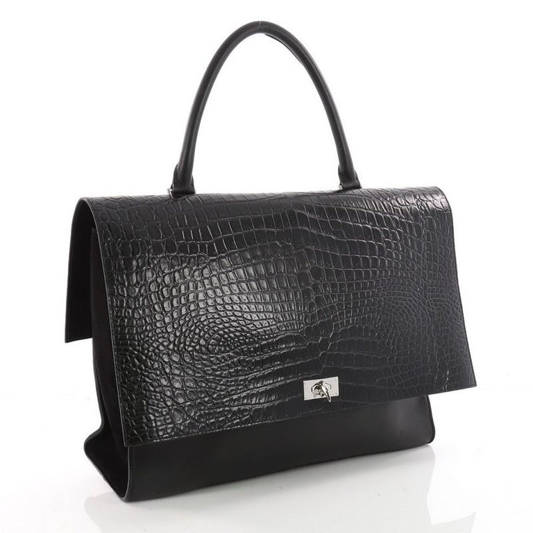 33650b6e1978 Black Givenchy Shark Convertible Satchel Crocodile Embossed Leather Large  For Sale