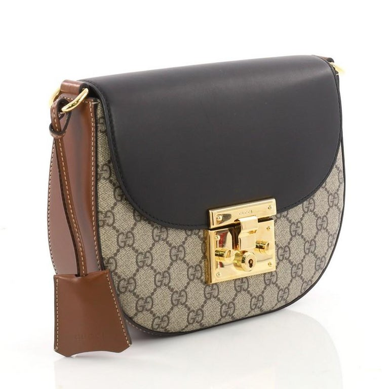 748035bb2 Black Gucci Padlock Saddle Shoulder Bag GG Coated Canvas and Leather Medium  For Sale