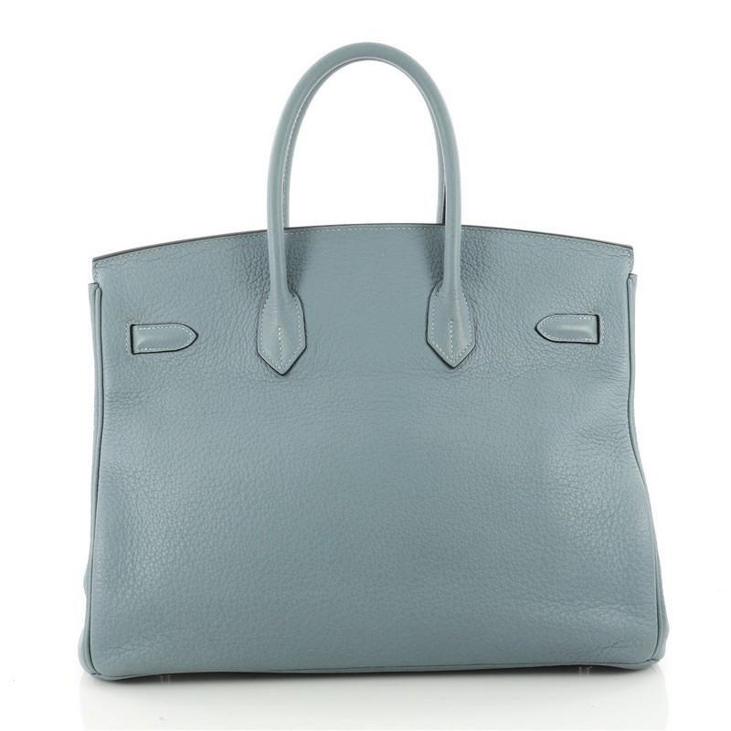 b2683b293adfc0 ... sweden hermes birkin handbag ciel blue clemence with palladium hardware  35 in good condition for sale