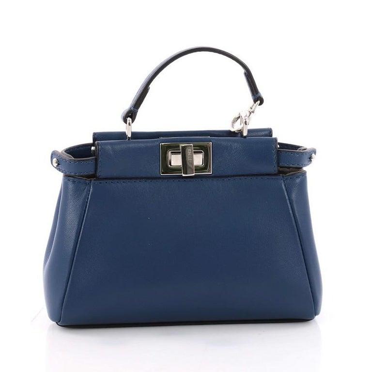 Fendi Peekaboo Handbag Leather Micro In Good Condition For Sale In New York, NY