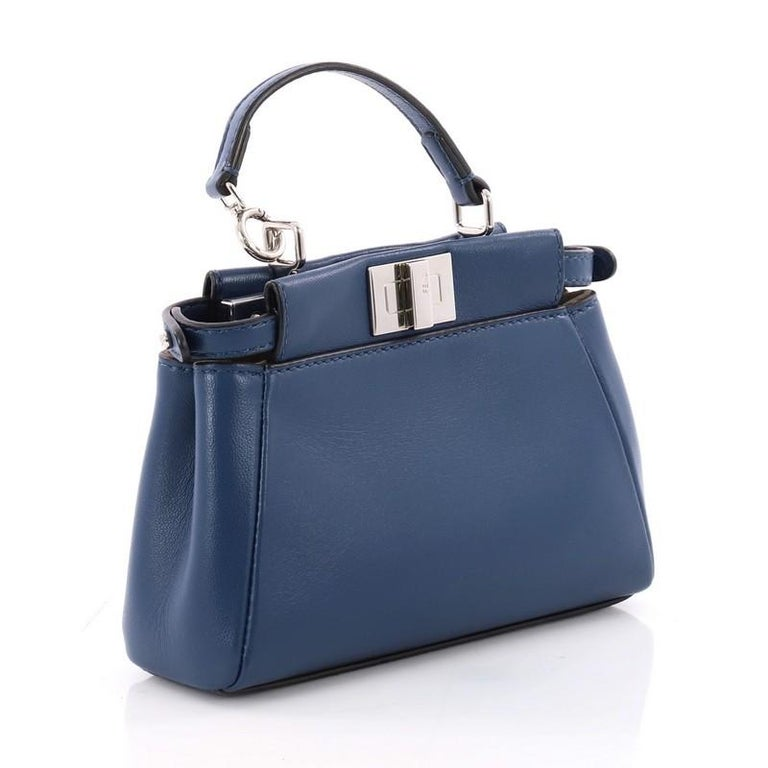 Purple  Fendi Peekaboo Handbag Leather Micro For Sale