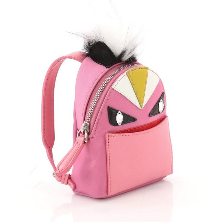 Fendi Monster Backpack Charm Nylon and Leather Micro In Good Condition For Sale In New York, NY