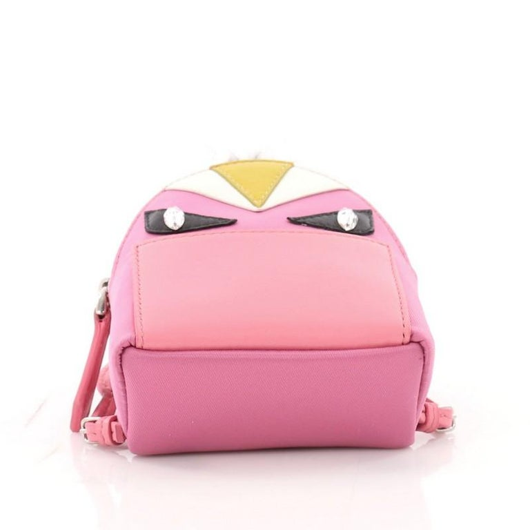Fendi Monster Backpack Charm Nylon and Leather Micro For Sale 1