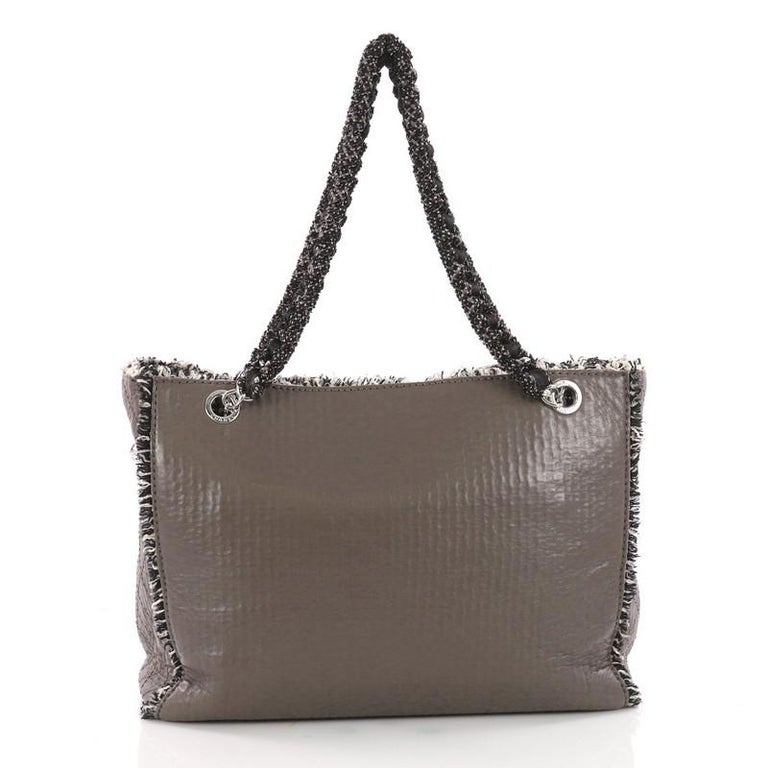 74f3980ce4af Chanel Tweedy Tote Lambskin and Tweed Large In Good Condition For Sale In  New York,
