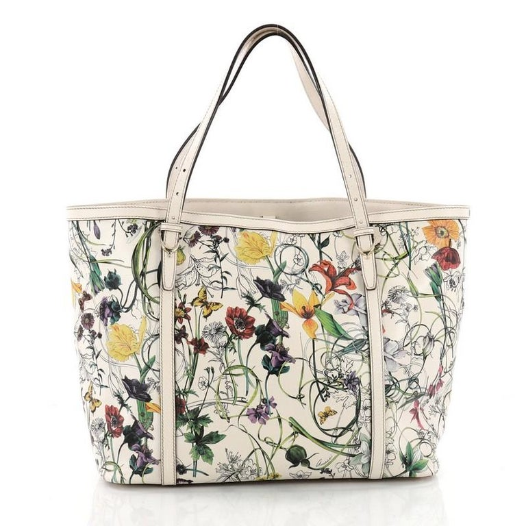 fca5f2482c23 Gucci Nice Tote Floral Printed Leather Medium In Good Condition For Sale In  New York,