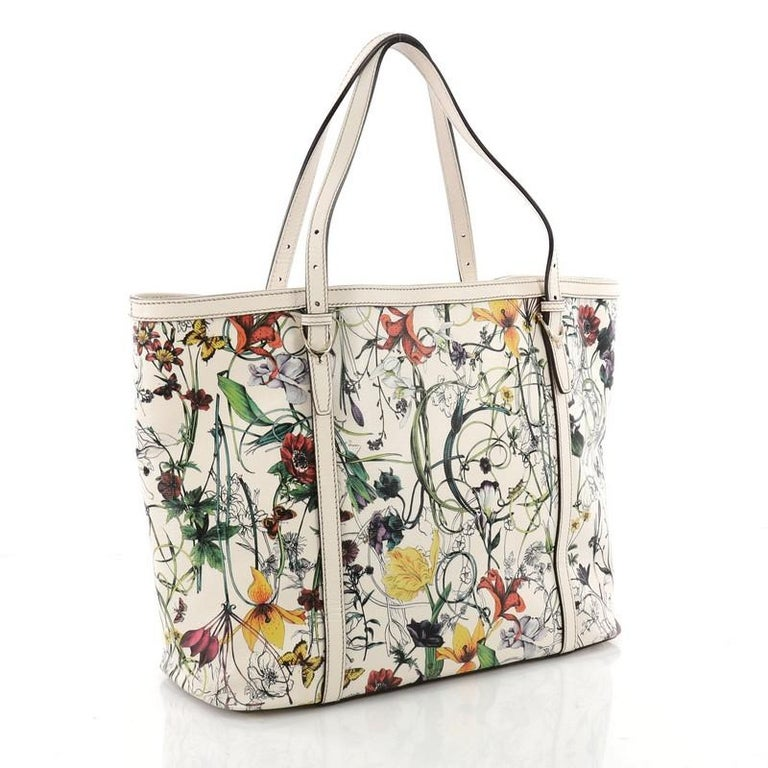 121b61b9d294 Beige Gucci Nice Tote Floral Printed Leather Medium For Sale
