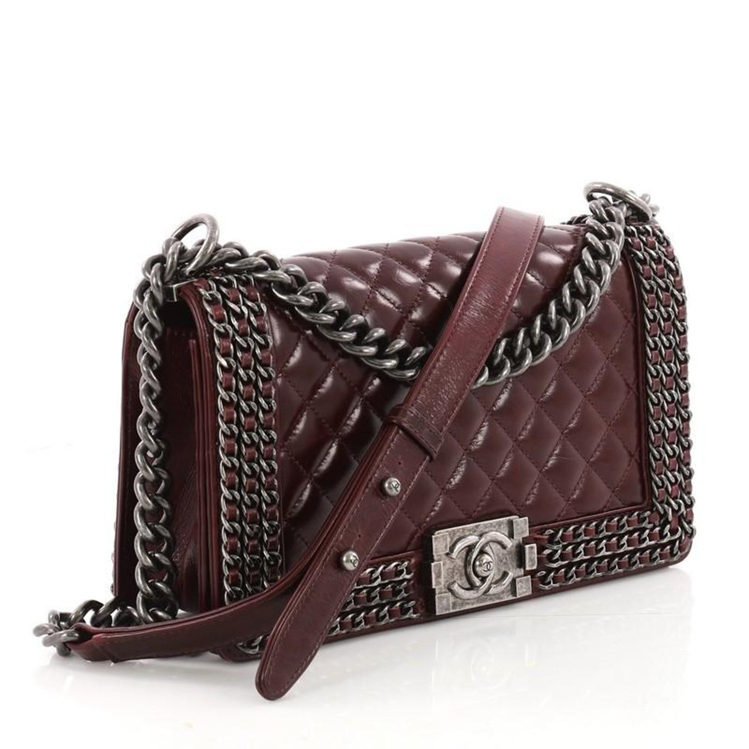 b53c898043f3 Chanel Chained Boy Flap Bag Quilted Glazed Calfskin Old Medium at 1stdibs