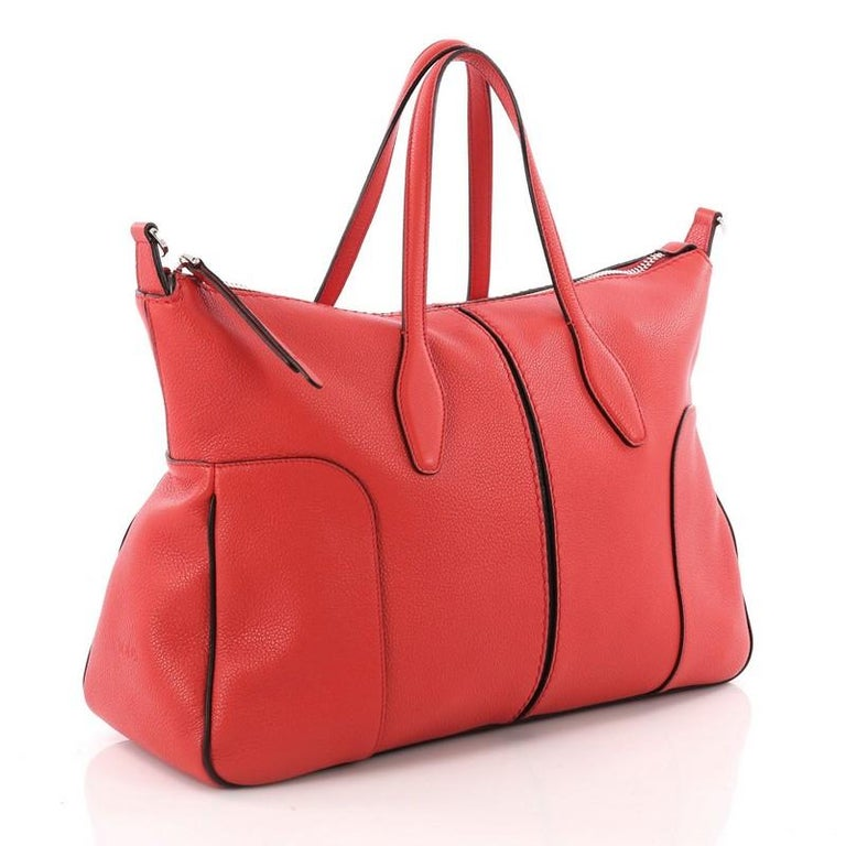 Red Tod's Piccolo Tote Leather Medium For Sale
