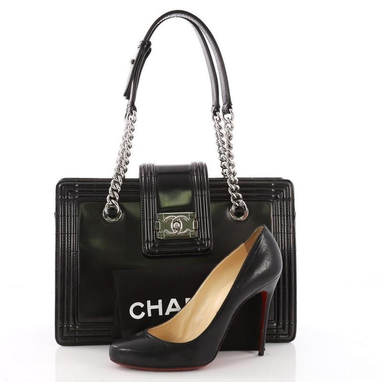 This authentic Chanel Boy Tote Glazed Calfskin Small, designed by Karl  Lagerfeld, is perfect da7d4997c3