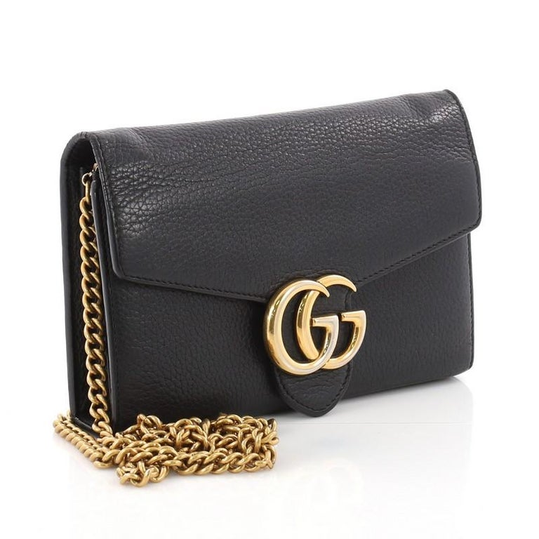 a316c29317df Gucci GG Marmont Chain Wallet Leather Mini In Good Condition For Sale In  New York,