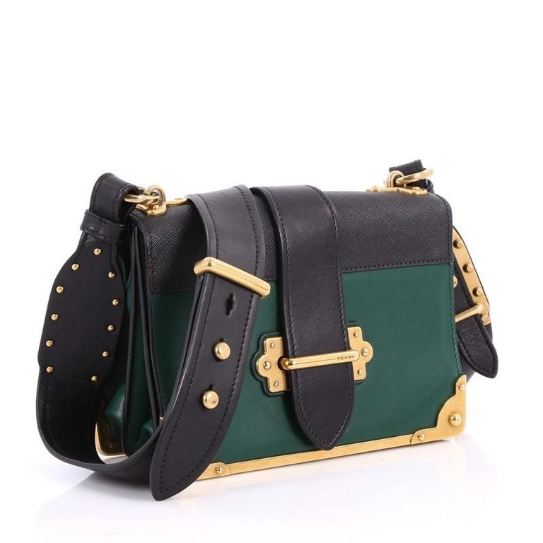3f894046688f Black Prada Cahier Crossbody Bag City Calf and Saffiano Leather Small For  Sale