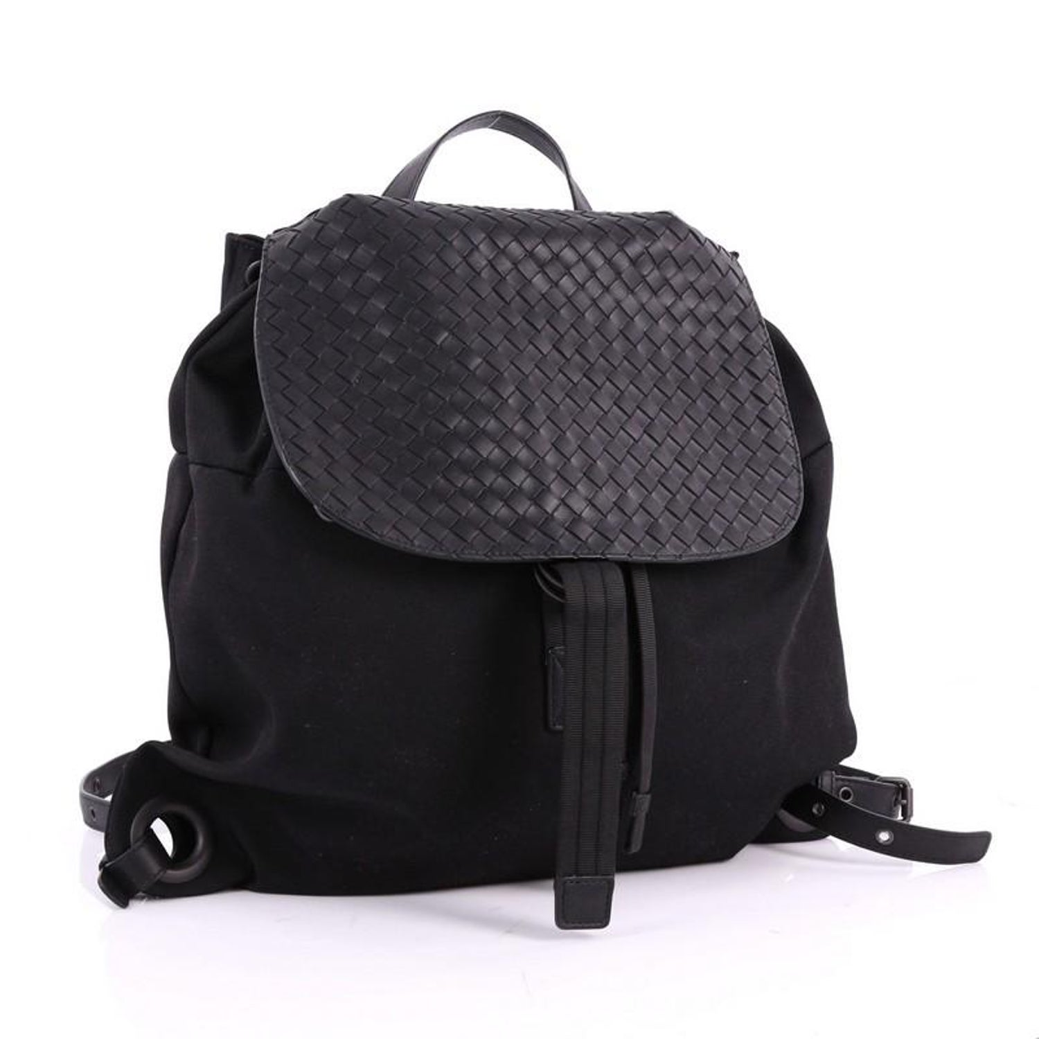 ef82386078f3 Bottega Veneta Drawstring Flap Backpack Technical Canvas w  Intrecciato  Leather at 1stdibs