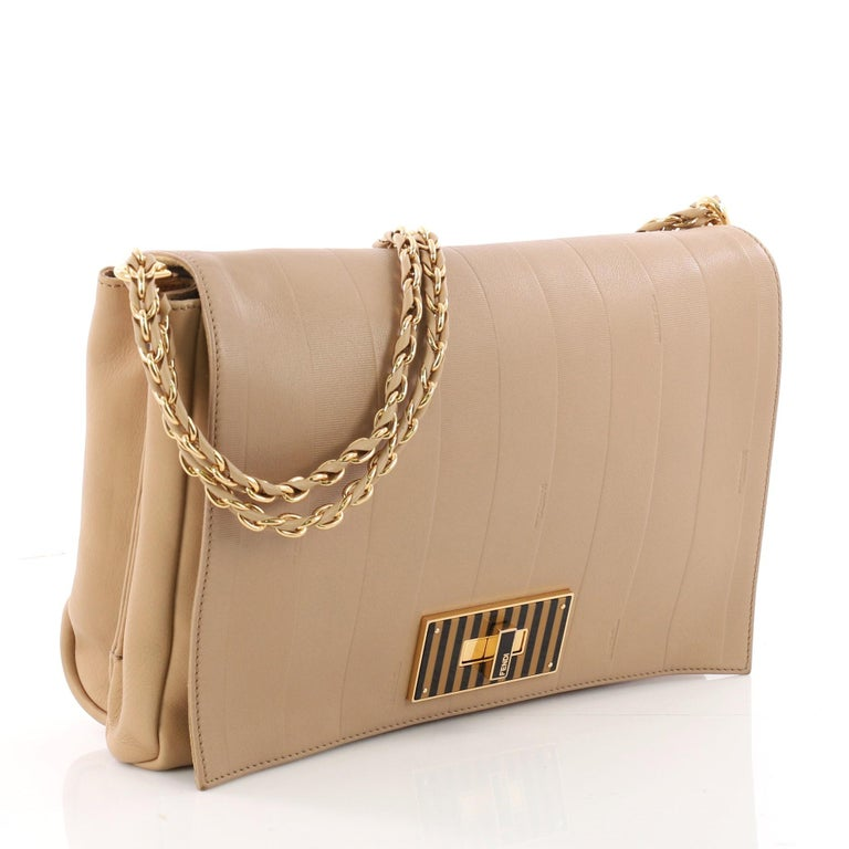8df3f04abd6 Brown Fendi Claudia Shoulder Bag Pequin Embossed Leather Large For Sale