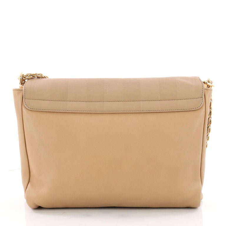 Fendi Claudia Shoulder Bag Pequin Embossed Leather Large In Good Condition For Sale In New York, NY