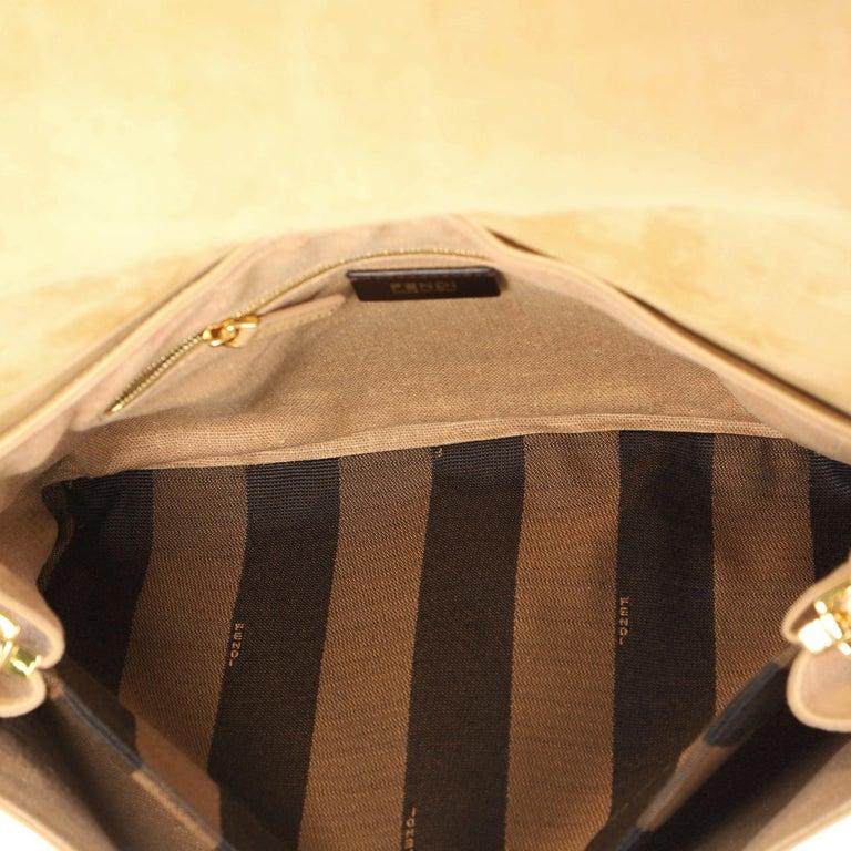 Fendi Claudia Shoulder Bag Pequin Embossed Leather Large For Sale 1