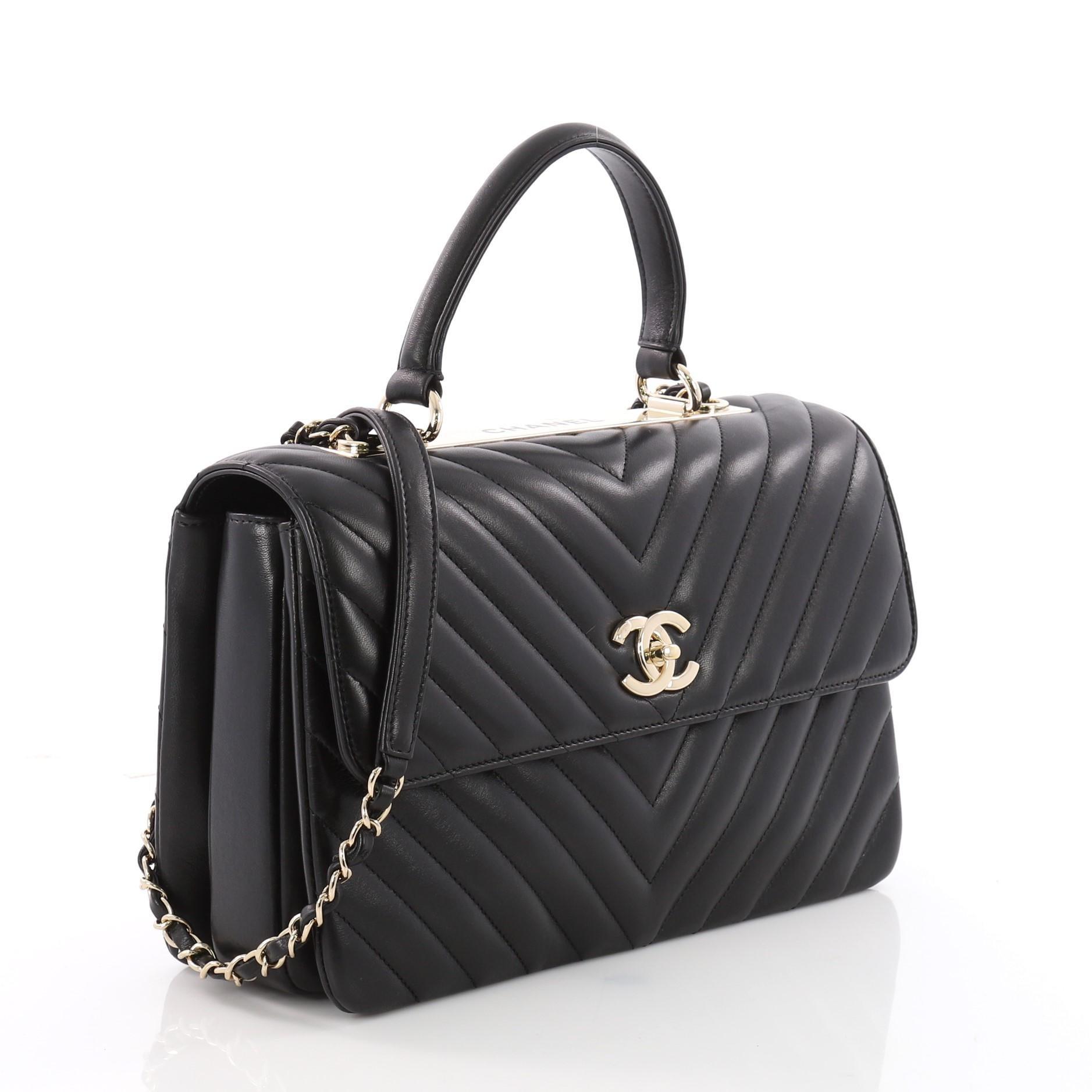671aeeb8bd73b Chanel Trendy CC Top Handle Bag Chevron Lambskin Medium at 1stdibs