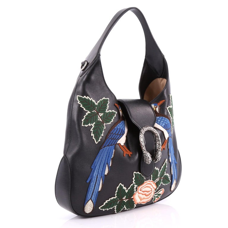 82358aa1bb81 Black Gucci Dionysus Hobo Embroidered Leather Small For Sale