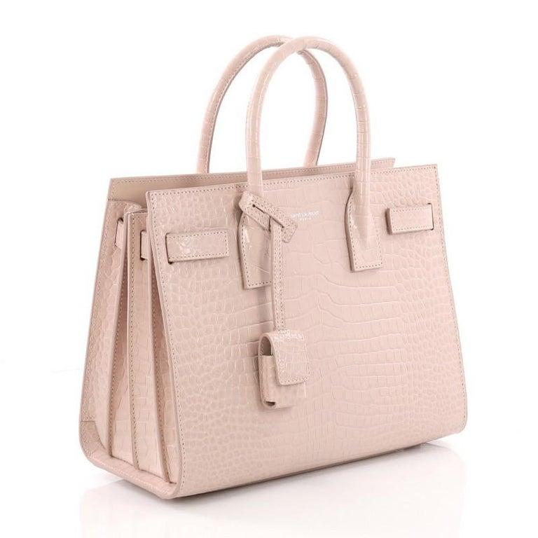 2da0cce3ded Beige Saint Laurent Sac de Jour NM Handbag Crocodile Embossed Leather Baby  For Sale