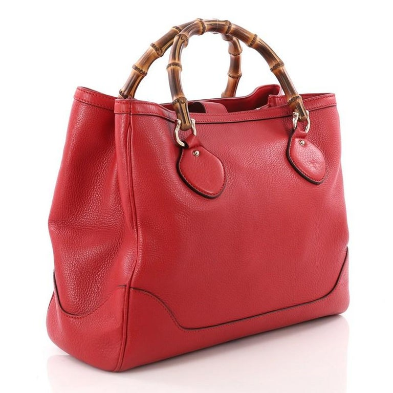 78e346d3d2c0 Red Gucci Diana Bamboo Top Handle Tote Leather Medium For Sale