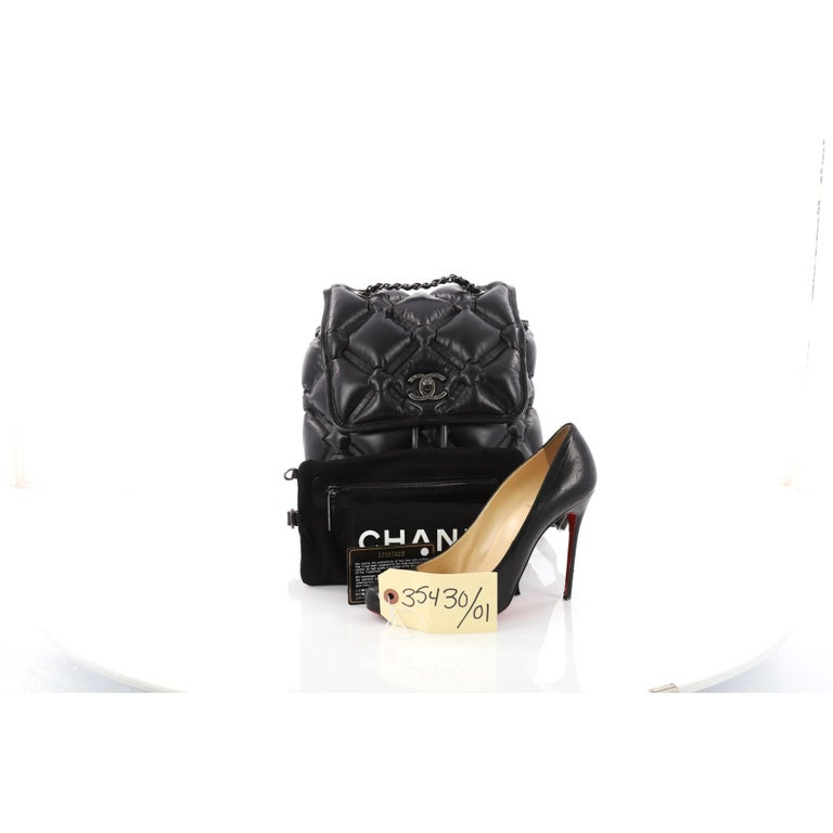 422c0fb9a7618c This authentic Chanel Chesterfield Backpack Quilted Calfskin Medium  displays a fun and fabulous design. Crafted