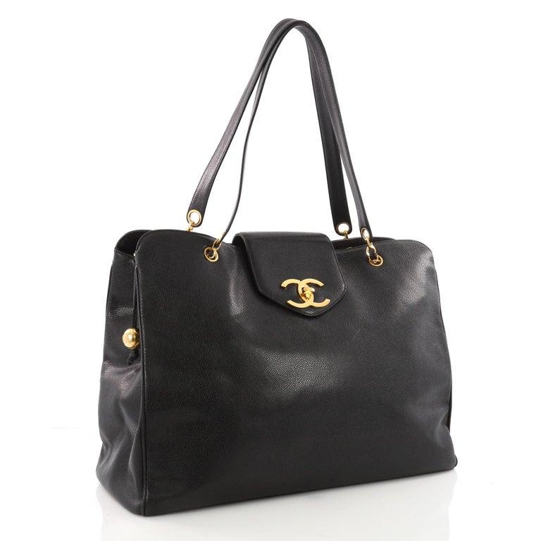 Black Chanel Vintage Supermodel Weekender Bag Caviar Large For