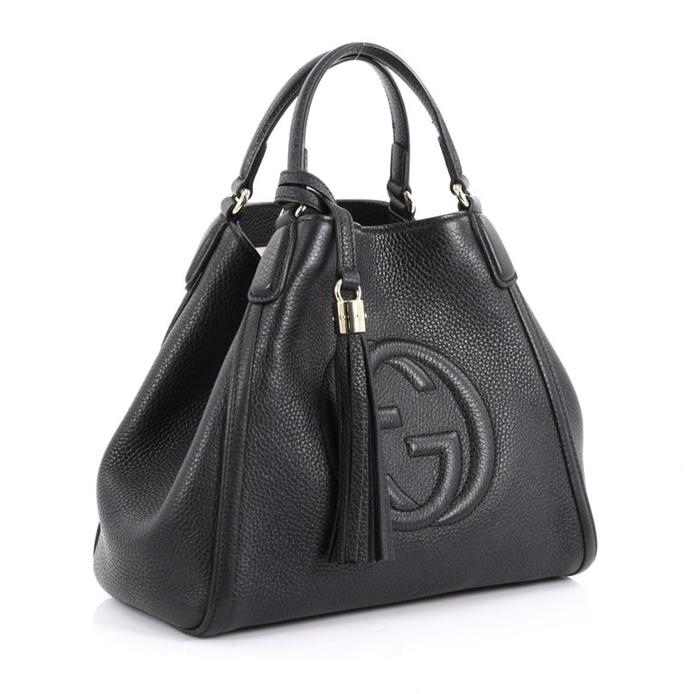 ba35686373bf63 Black Gucci Soho Convertible Shoulder Bag Leather Small For Sale