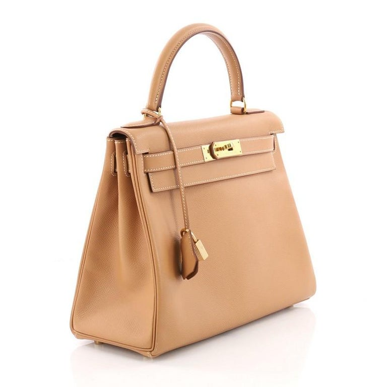 8d3c174114d7 Brown Hermes Kelly Handbag Natural Courchevel with Gold Hardware 28 For Sale