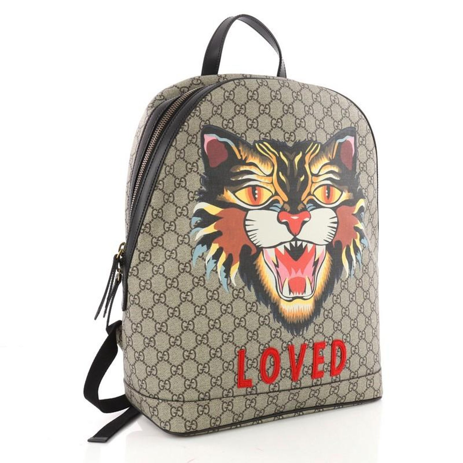 f38537cb45a6 Gucci Angry Cat Zip Backpack Printed GG Coated Canvas Medium at 1stdibs