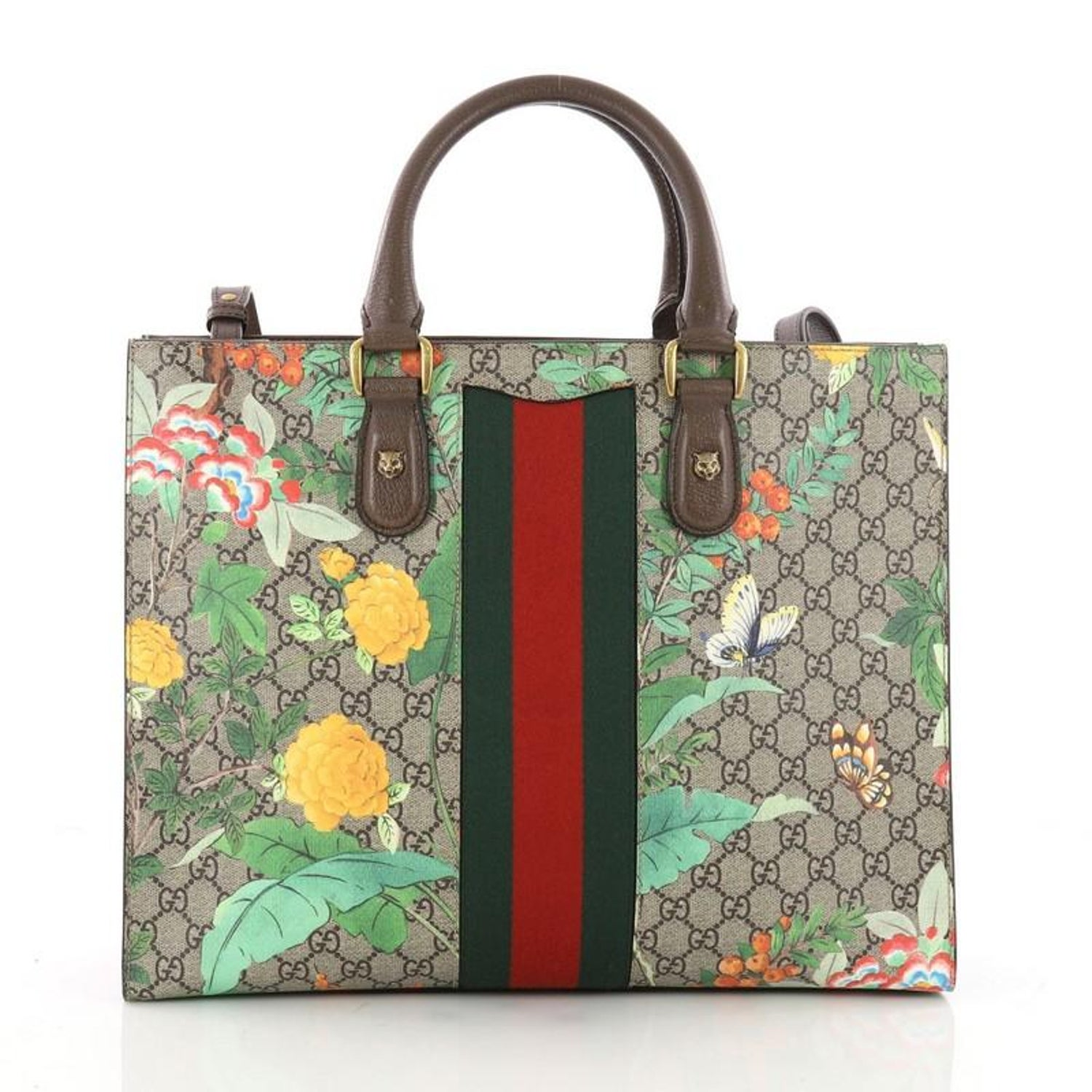 91cd1557e0c6 Gucci Animalier Web Top Handle Tote Tian Print GG Coated Canvas Large at  1stdibs
