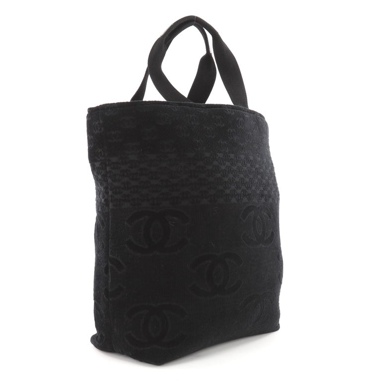 4376534a6ceec5 Black Chanel CC Beach Tote Terry Cloth Large For Sale