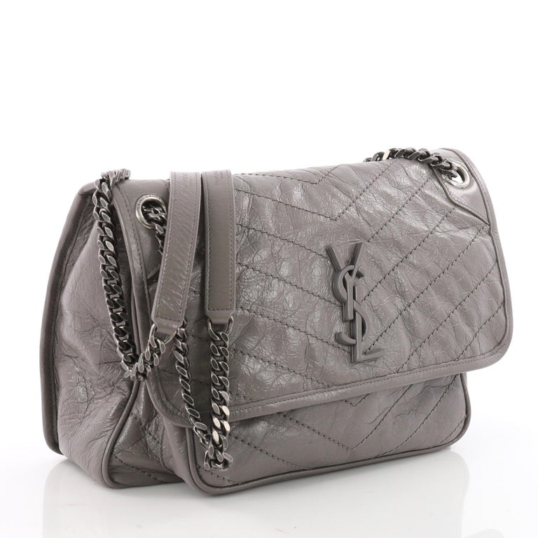f8197eaffe Saint Laurent Niki Chain Flap Bag Matelasse Chevron Leather Medium ...