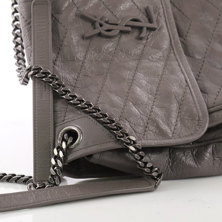 3f90506dcf Saint Laurent Niki Chain Flap Bag Matelasse Chevron Leather Medium For Sale  3