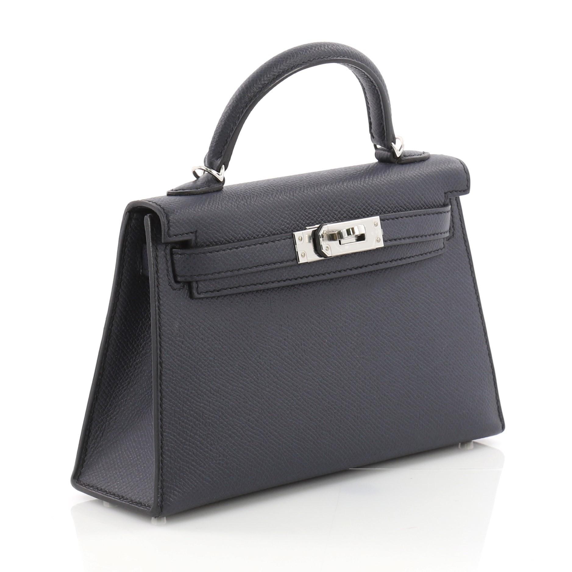 e32677aad8 Hermes Kelly Mini II Handbag Blue Indigo Epsom with Palladium Hardware 20  at 1stdibs