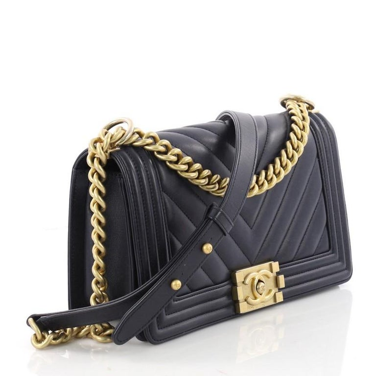 1f371a5a53bd Black Chanel Boy Flap Bag Chevron Calfskin Old Medium For Sale