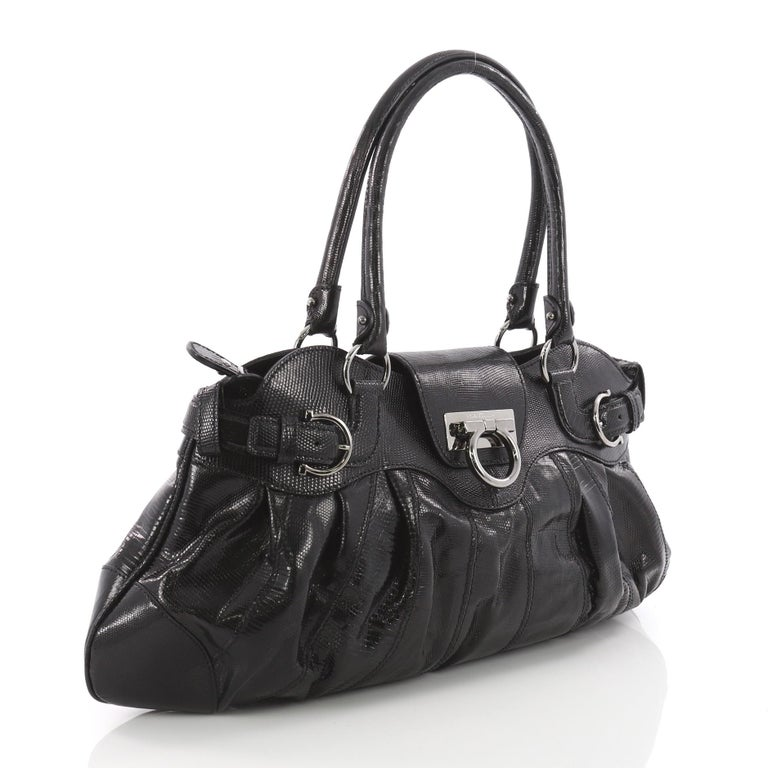 Black Salvatore Ferragamo Marisa Satchel Lizard Medium For Sale f754f75791