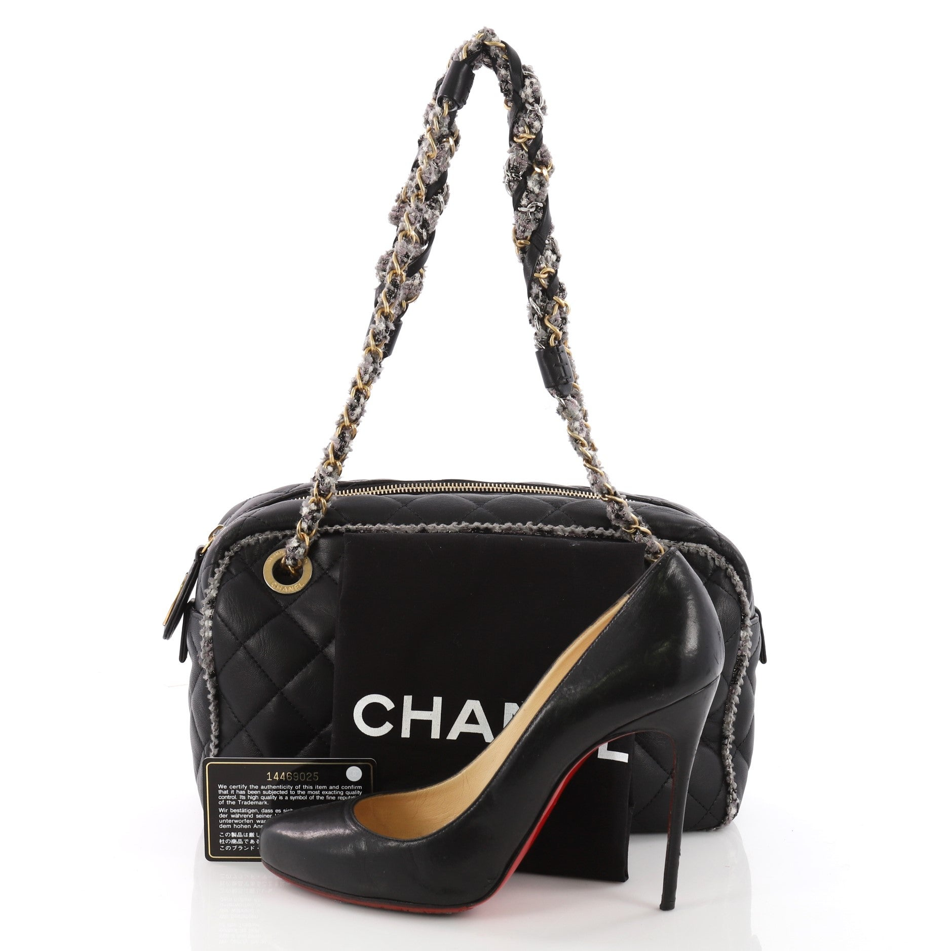 28f15dde89abef Chanel Tweed Chain Camera Bag Quilted Lambskin and Tweed Small at 1stdibs