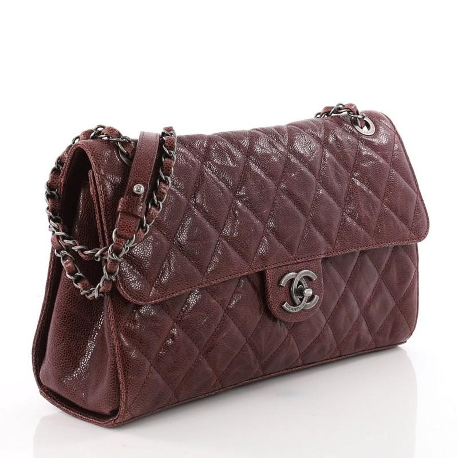 c596153ac12c Chanel CC Crave Flap Bag Quilted Glazed Caviar Jumbo at 1stdibs