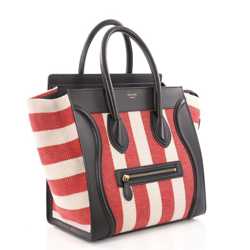 e66730bf3e Celine Luggage Handbag Canvas and Leather Mini at 1stdibs